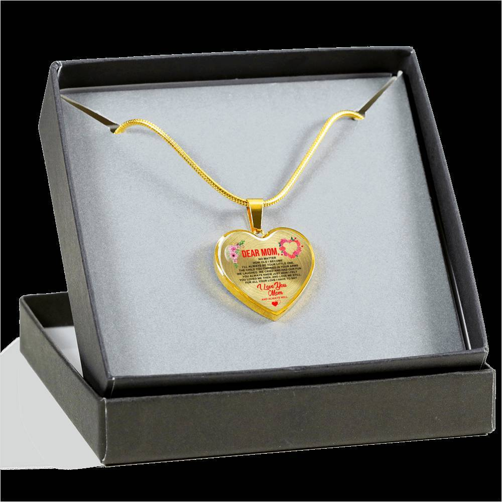 To Mom - Always Will - Heart Keepsake Necklace