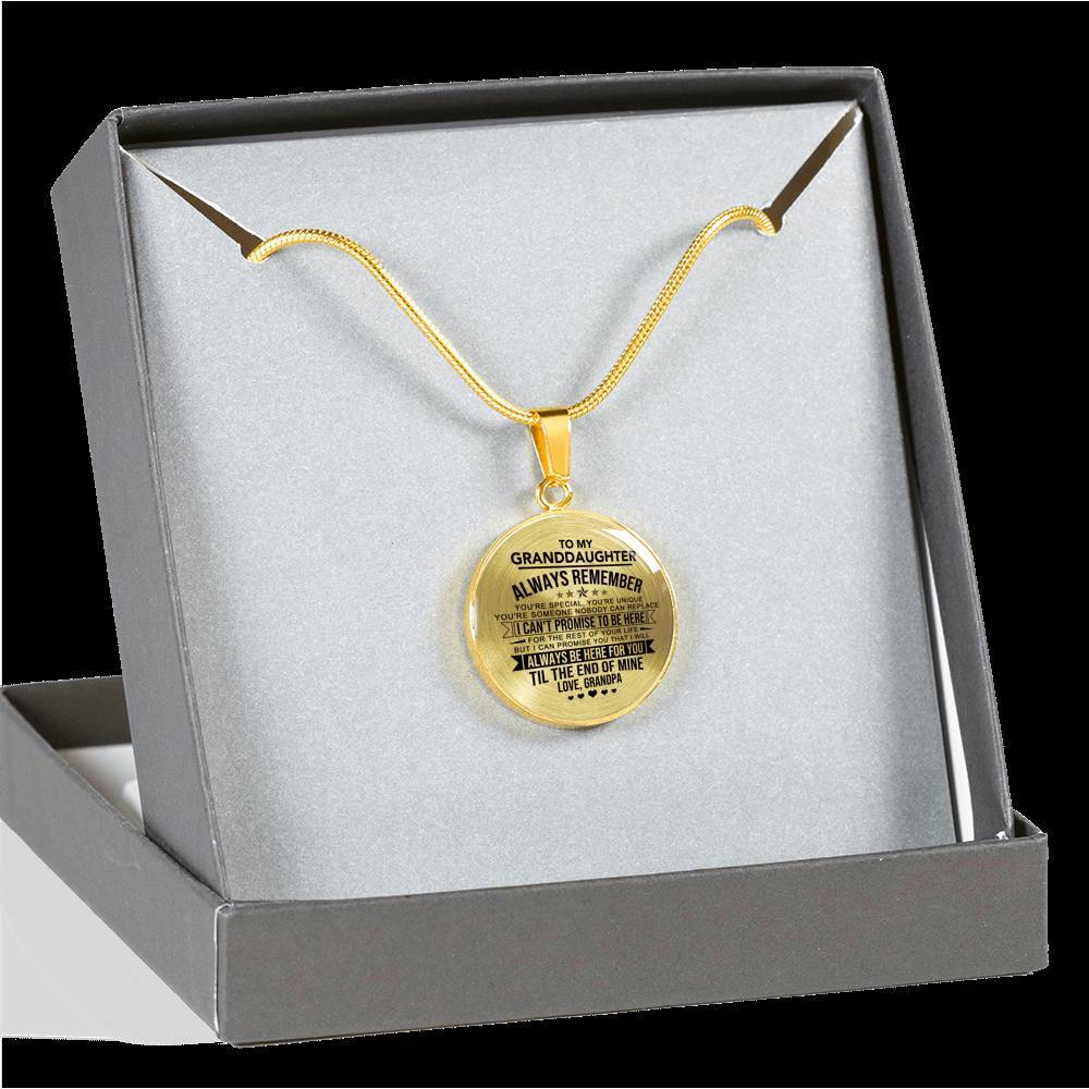 Granddaughter - Nobody Can Replace - *Real 18k Gold Finish Pendant Necklace