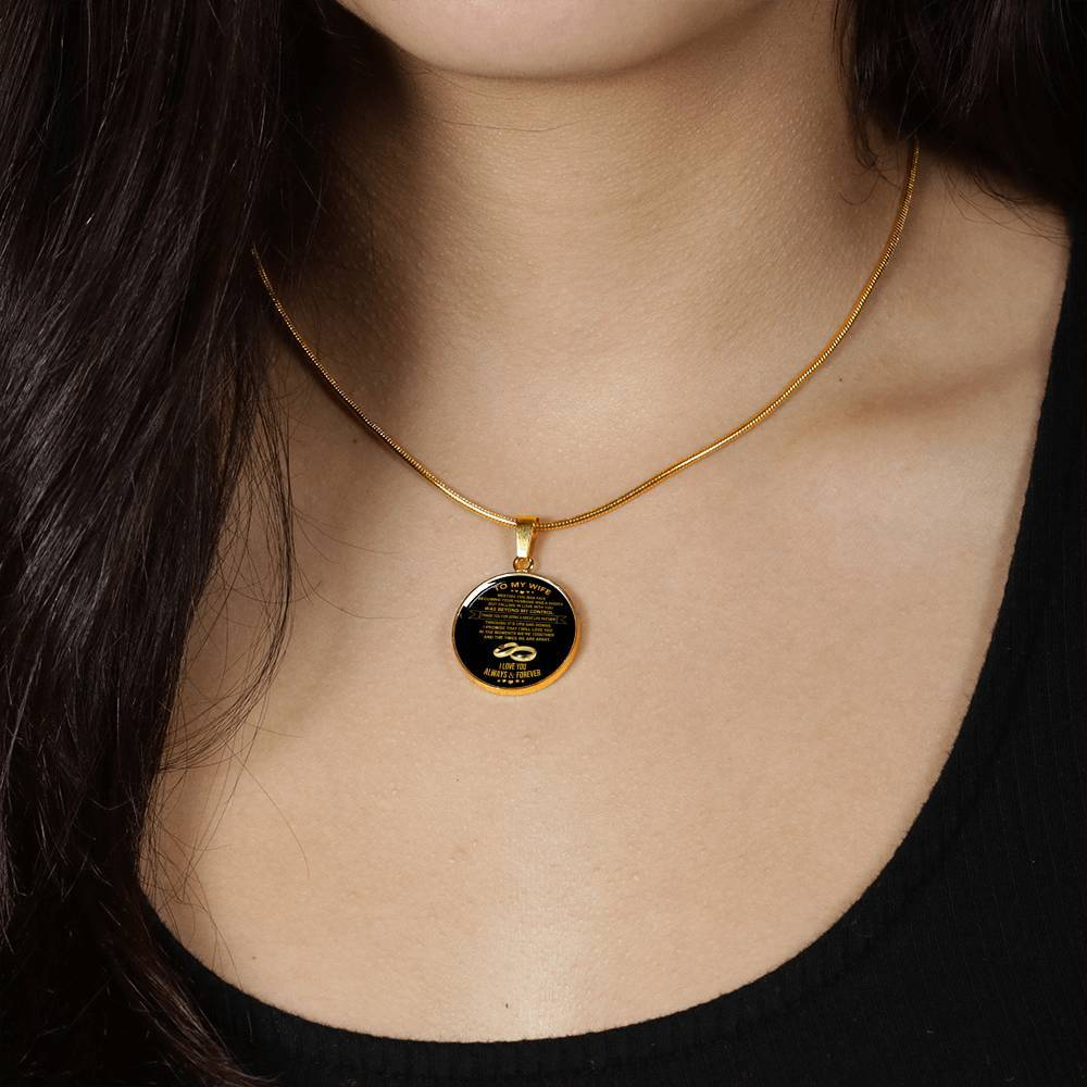 Wife - Beyond My Control - Real 18k Gold Finished Pendant Necklace