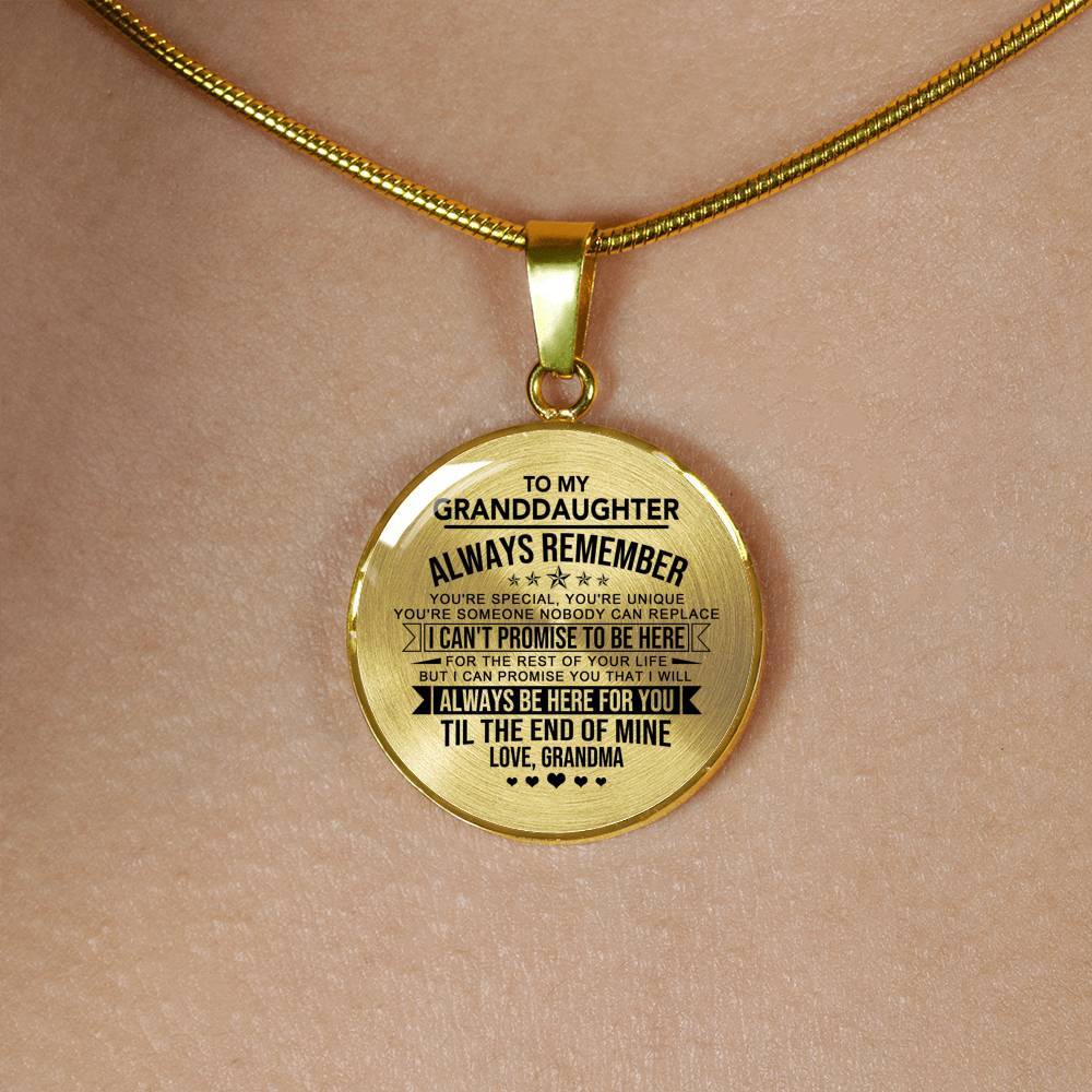 Granddaughter - Nobody Can Replace - Pendant Necklace *Real 18k Gold Finish