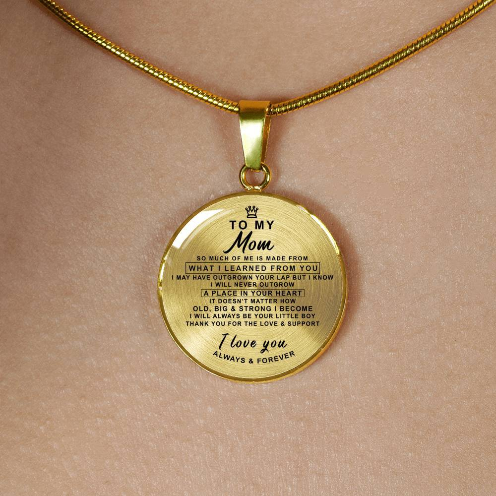 Mom - Always & Forever - Pendant Necklace *Real 18k Gold Finish