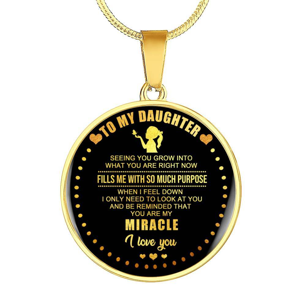 Daughter - You Are My Miracle *Real 18k Gold Finish Pendant Necklace