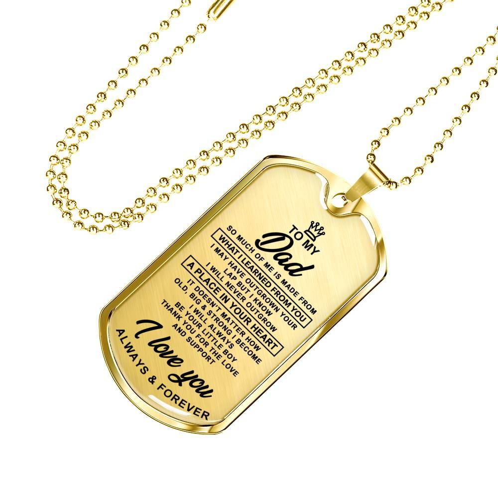 To Dad - From Son - Real 18k Gold Finish Keepsake Tag