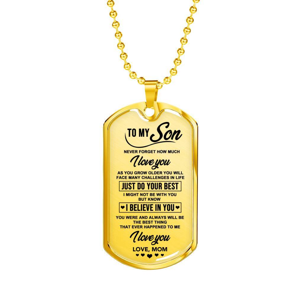 To My Son - From Mom *Real 18k Gold Finish Keepsake Tag