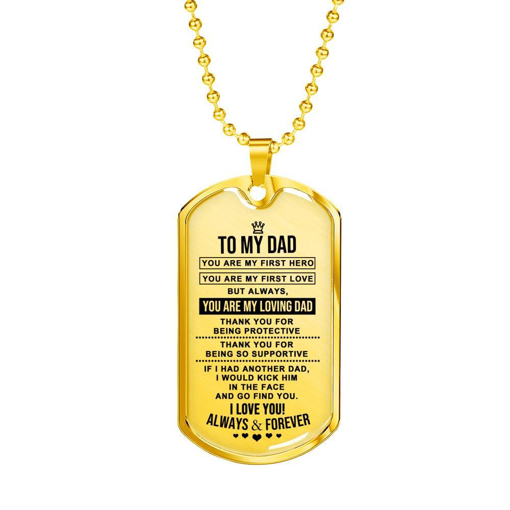 To My Supportive Dad - Real 18k Gold Finish Keepsake Tag