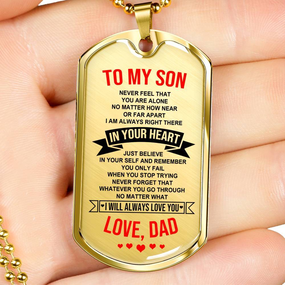 To Son - From Dad - Always In Your Heart - Keepsake Tag
