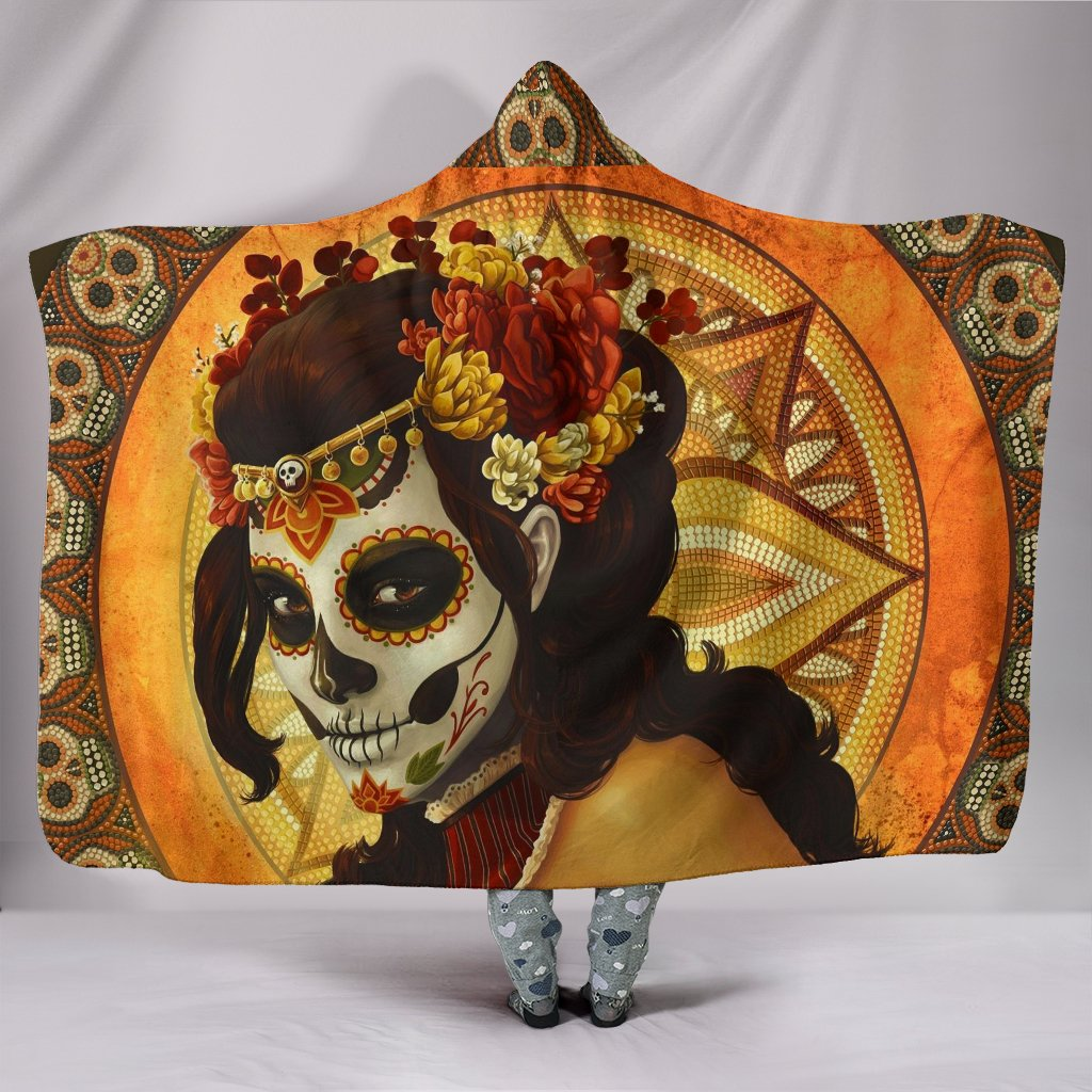 Sugar Skull Premium Hooded Blanket