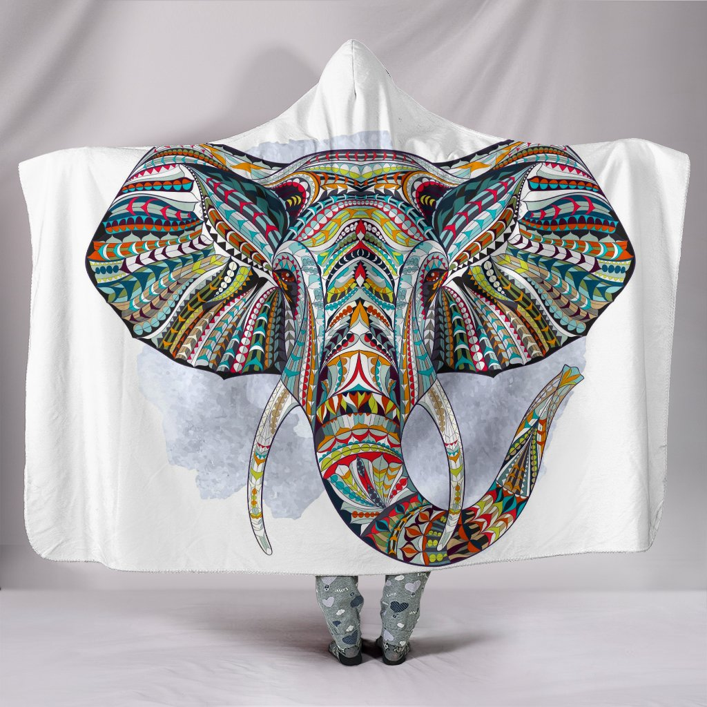 Elephant Art Hooded Blanket