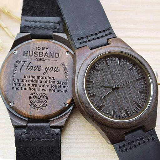 I Love You Always - My Husband - Wood Watch