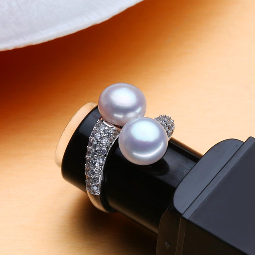 June Natural Pearl Birthstone Sterling Silver Ring