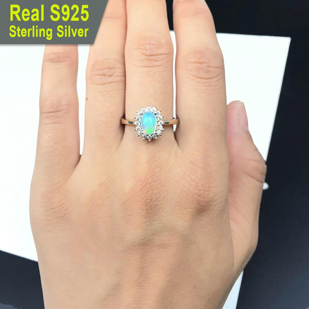 Princess Diana inspired October Opal Birthstone S925 Ring
