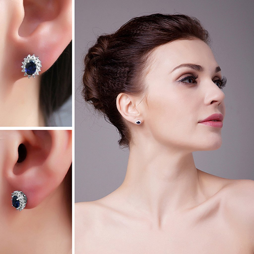 Princess Diana inspired 1.2CT Sapphire Sterling Silver Earrings ...