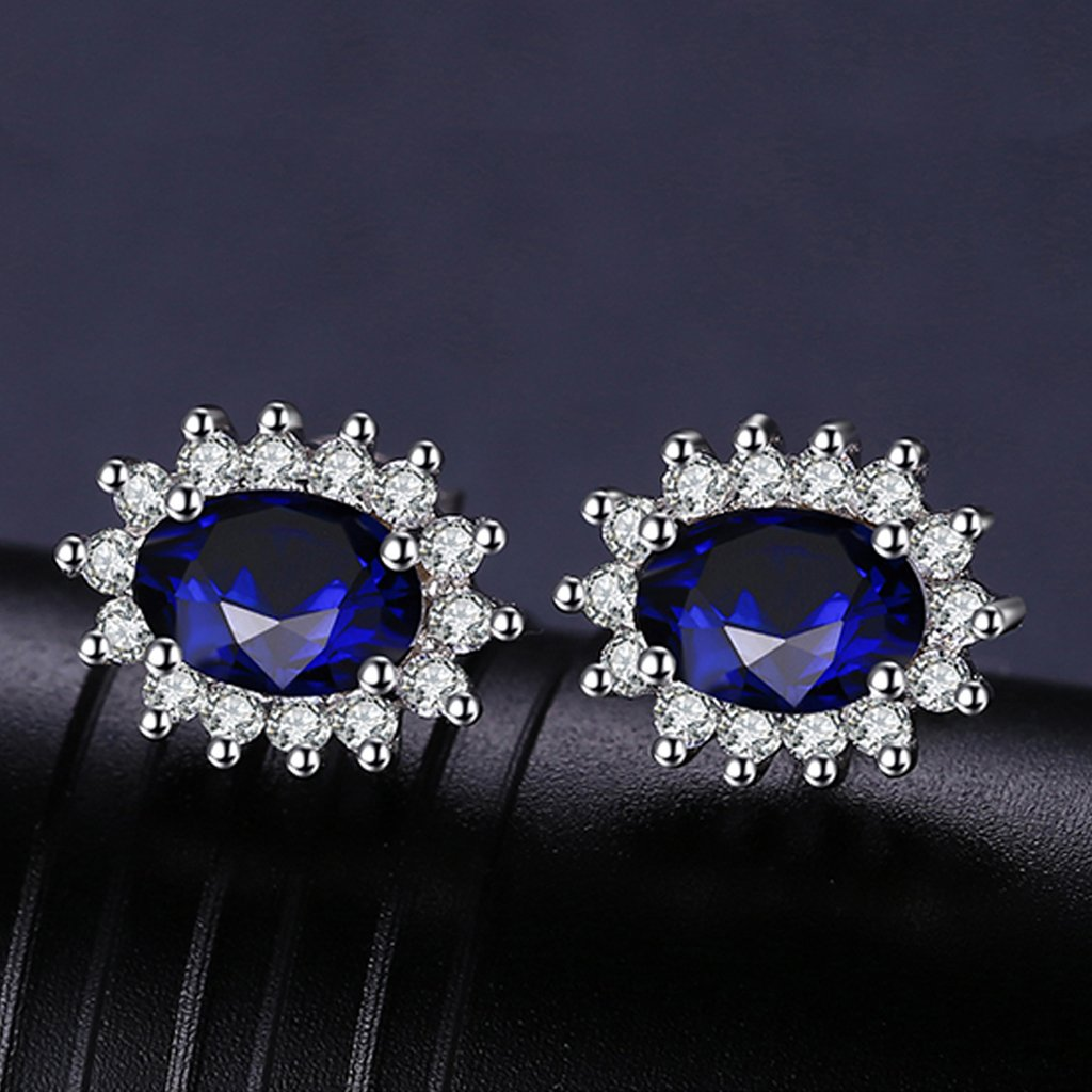Princess Diana inspired 1.2CT Sapphire Sterling Silver Earrings (September)
