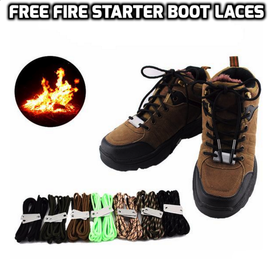 Paracord Fire Starter Boot Laces LIMITED TIME OFFER