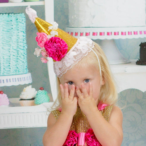 1st birthday hat - girls birthday hat - sparkle birthday hat - blush and GOLD hat - 2nd birthday hat - baby girl Birthday