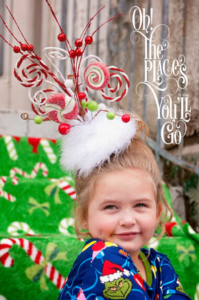 Adult or Child Christmas Headpiece Inspired by The Grinch