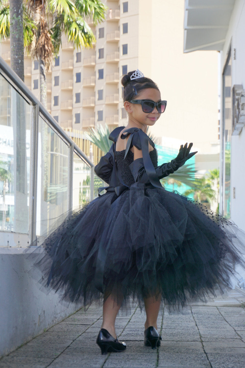 Black Audrey Hepburn Breakfast at Tiffany's Inspired Little Girl Party Dress