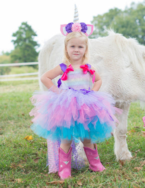 Little Girl Magical Unicorn Tutu Dress Costume with Matching Unicorn Headband