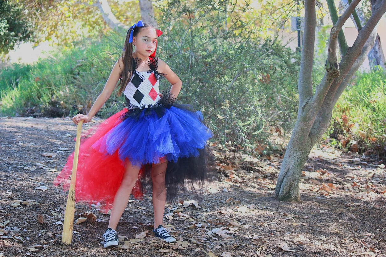 Harlequin Inspired Black, Red and Blue Tutu Dress