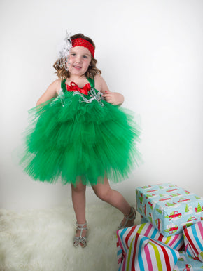 Girls Christmas Tree Inspired Tutu Dress Outfit