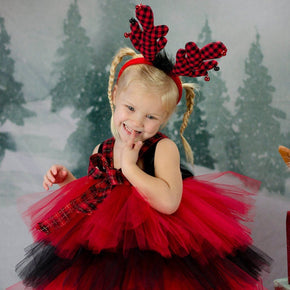 Buffalo Plaid Christmas Tutu Dress with Reindeer Antlers