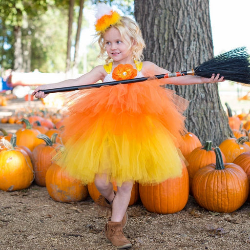 Candy Corn Witch Tutu Dress Costume