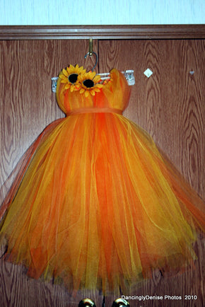 Orange, Yellow and Brown Fall Flower Girl Tutu Dress
