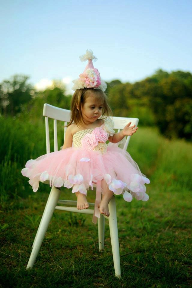Pink Rose Flowered Birthday Tutu Dress