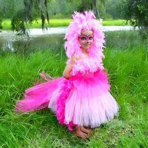 Pink Colorful Flamingo Tutu Dress Costume for Little Girls
