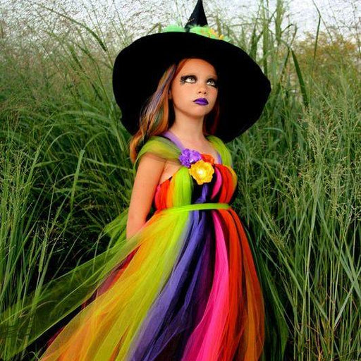 Bright and Colorful Wicked Witch Tutu Dress Costume with Fancy Witches Hat