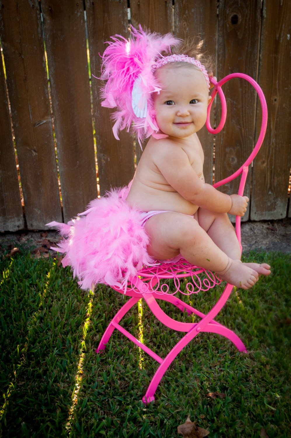 Feathered Bloomers Diaper Cover and Headband Set