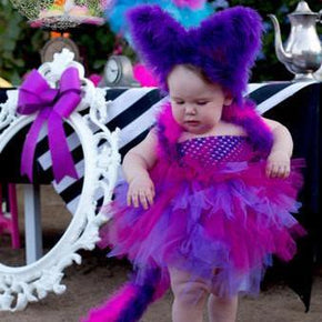 Cheshire Cat Alice in Wonderland Inspired Tutu Party Dress for Little Girl