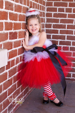 Santa Inspired Red and White Christmas Tutu Dress with Cupcake Headpiece