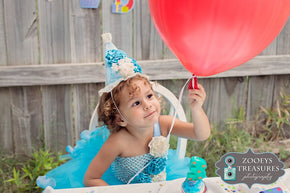 First Birthday Cake Smash Dress in Turquoise