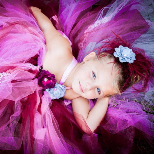 Wine Colored Flower Tutu Dress Costume