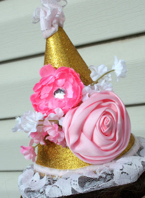 Girls 1st Birthday Flower Party Hat