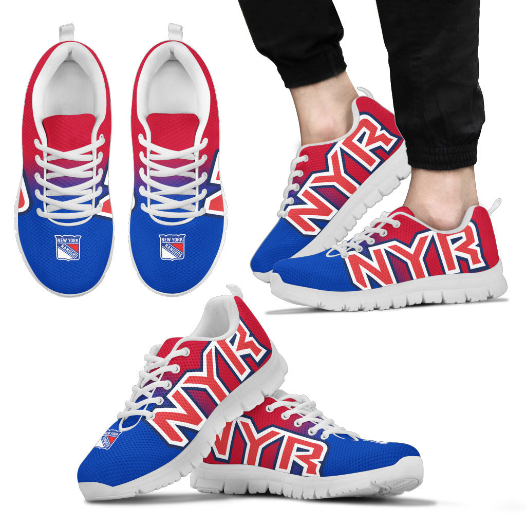 buy popular 298fe 1bf0d New York Rangers Fan Custom Unofficial Running Shoes Sneakers Trainers