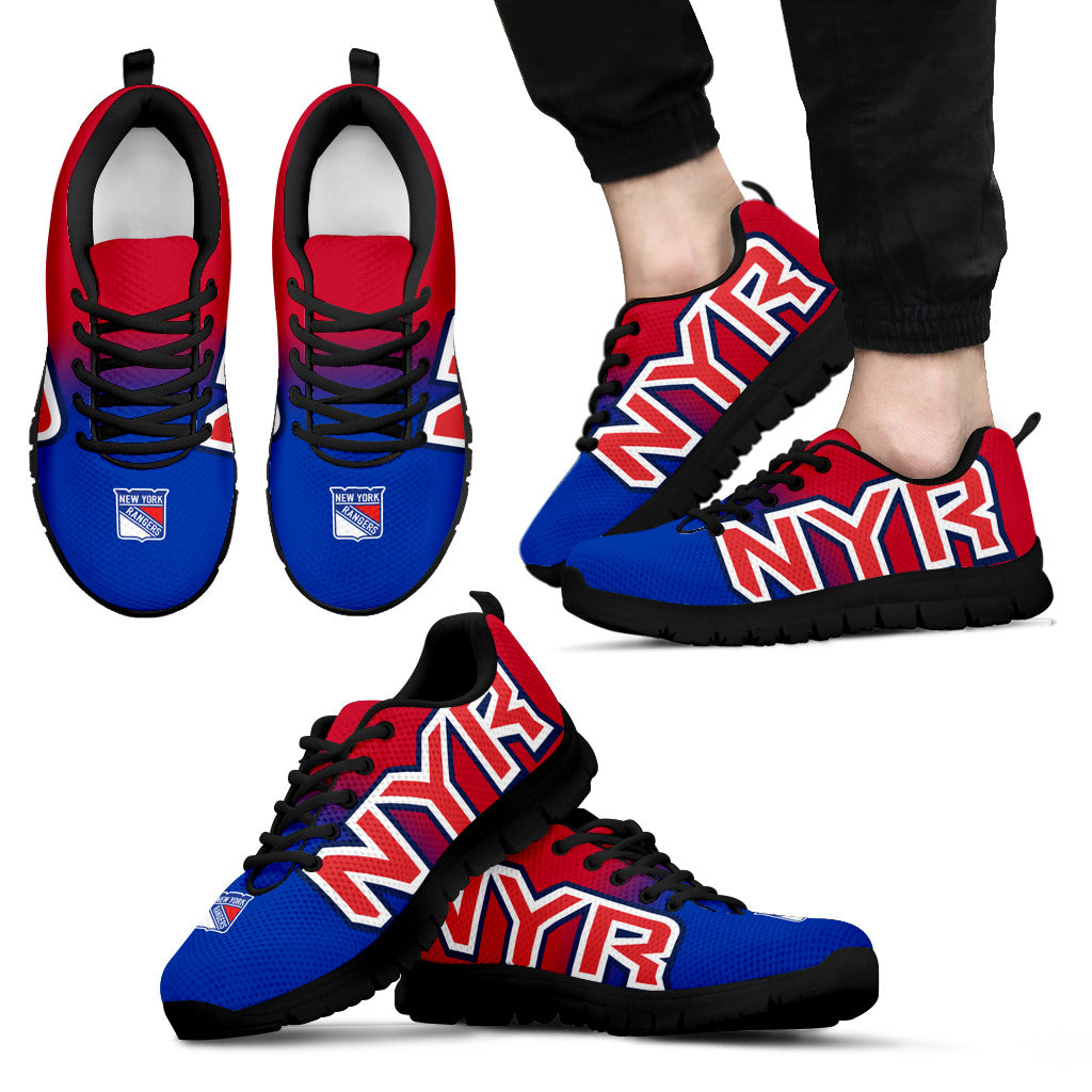 buy popular 9066c e993e New York Rangers Fan Custom Unofficial Running Shoes Sneakers Trainers