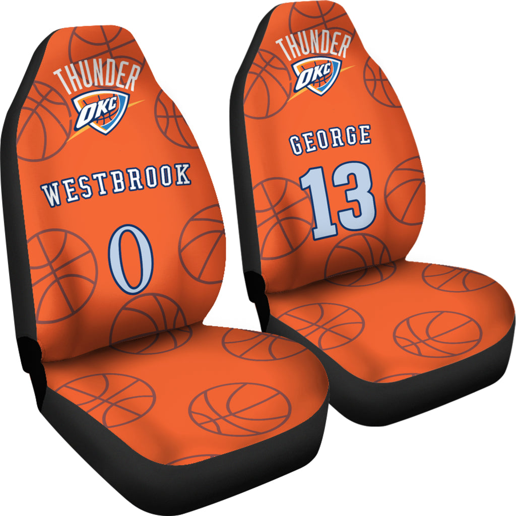 Oklahoma City Thunder Orange Pair Of Car Seat Covers Customizable