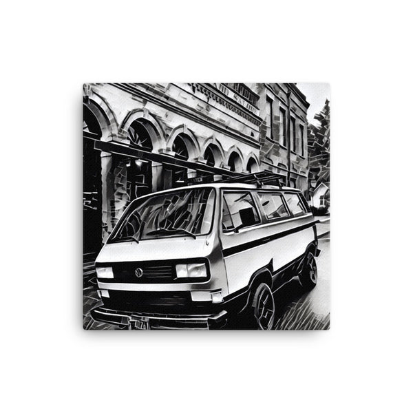 VW Vanagon Downtown 16x16 Canvas Print