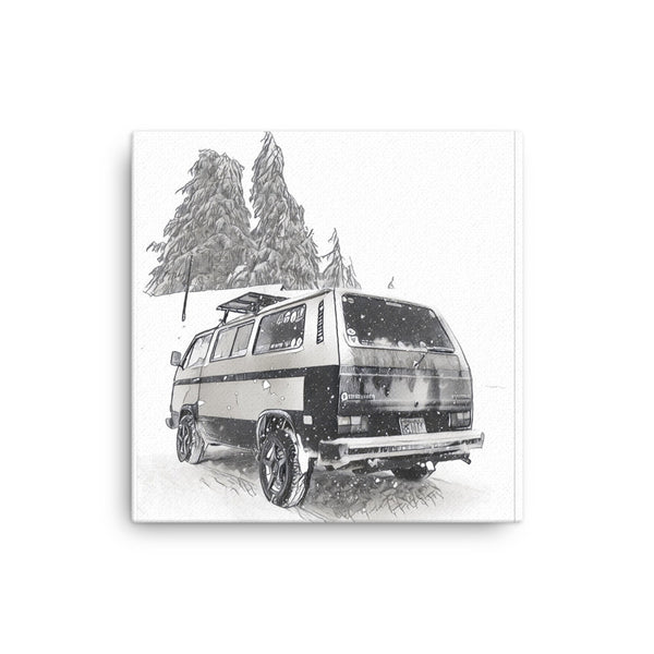 VW Vanagon Snowscene 16x16 Canvas Print