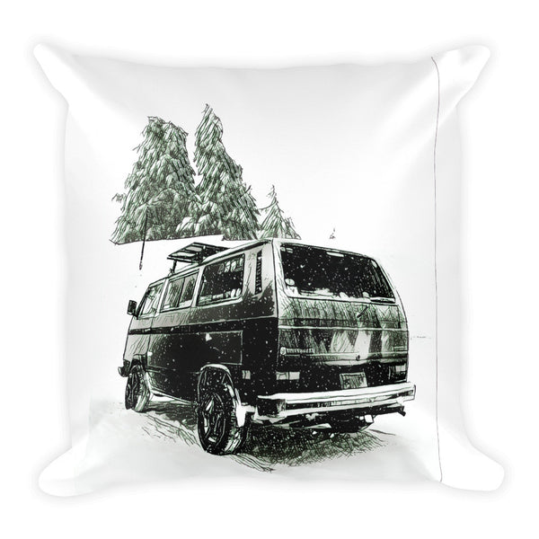 VW Vanagon Snowscenes Square Pillow