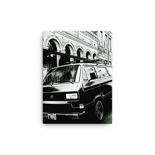 VW Vanagon Downtown 12x16 Canvas Print