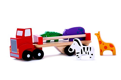 Classic Wooden Toy Truck With Animals | Truck w/ Detachable Trailer & Solid Wood Hippo, Giraffe, Zebra & Crocodile Pieces for Preschool Toddler Boys & Girls 2, 3 Year Olds & Up