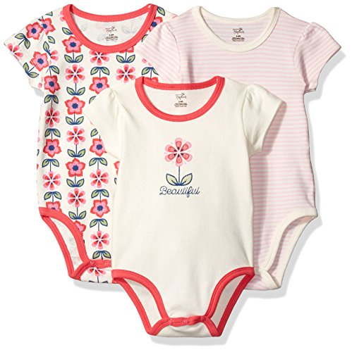 Touched by Nature Baby Organic Cotton Bodysuit, 3 Pack