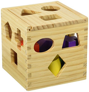 Finely Crafted, Wood Shape Sorting Cube - Box Educational Toy for Toddlers & Young Children