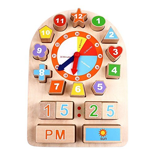 iPlay, iLearn Sorting Clock Wooden Shape Sorting Clock Educational Toy for Preschool & Toddlers