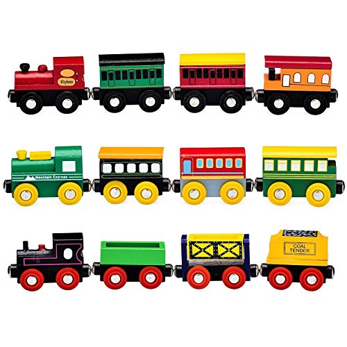 Playbees 12 Piece Wooden Train Cars Magnetic Set Includes 3 Engines, Magnet Train Toy Collection for Toddler Boys and Girls, Compatible with Most Name Brand Wood Tracks