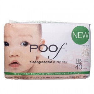 Poof SIZE Newborn Taupe Chinoiserie Biodegradable DIAPERS