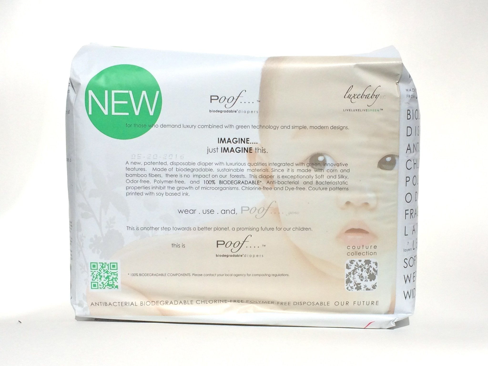 Poof SIZE 1 Taupe Chinoiserie Biodegradable DIAPERS